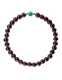 Amandastone Gemstone 5.5MM AAAAA Grade Wine Red Garnet with Natural Stone with 925 Sterling Silver Round Beads Bracelet/Necklace 18''