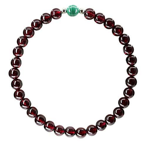(Amandastone Gemstone 5.5mm AAAAA Grade Wine Red Garnet with 6mm Malachite 925 Sterling Silver Round Beads Bracelet 7