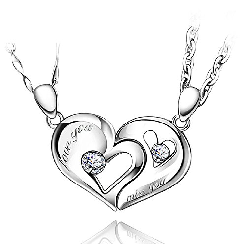 le Necklaces Pandant Necklace 14K White Gold Overlay His and Hers Necklaces for Couples, Anniversary, Valentine, Christmas (Stainless Steel) ()