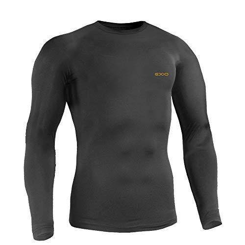 EXIO (에쿠시오) 컴프레션웨어 남성 긴팔 겨울 방한 방풍 이너 야구 언더 셔츠 뒤에서 기모 발열 방한복