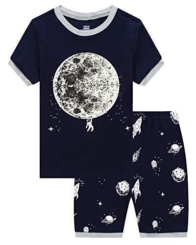 KikizYe Little Boys Glow in The Dark Moon Space Pajamas Short Sets 100% Cotton Toddler Kid Summer Sleepwear Pjs -