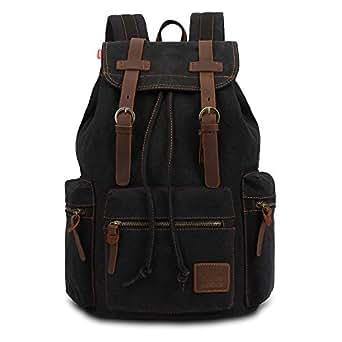 Mens Bag Student Leisure Bag Large Capacity Canvas Bag Trend Fashion Men's Bag Outdoor Sports Shoulders Computer Backpack High capacity (Color : Black)