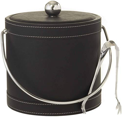 Mr Ice Bucket - Hand Made In USA Black Leatherette With White Stitching Double Walled 3-Quart Insulated Ice Bucket With Bonus Ice Tongs