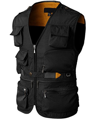 H2H Mens Casual Work Utility Hunting Travels Sports Vest with Multiple Pockets Black US L/Asia XL (KMOV0116) by H2H