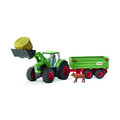 Schleich Farm World Tractor with - Hay Trailer