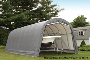 ShelterLogic 14-Ft.W Round-Style Instant Garage - 28ft.L x 14ft.W x 12ft.H, 2 3/8in. Frame, Gray, Model# 95333