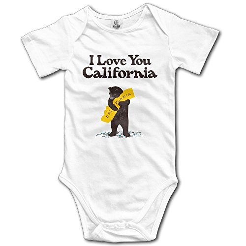 I Love You California Bear Baby Outfit Creeper Short Sleeves Jumpsuits
