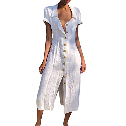 ⚡HebeTop⚡ Womens Button Down V Neck Roll Up Short Sleeve Casual Long Maxi Dresses White