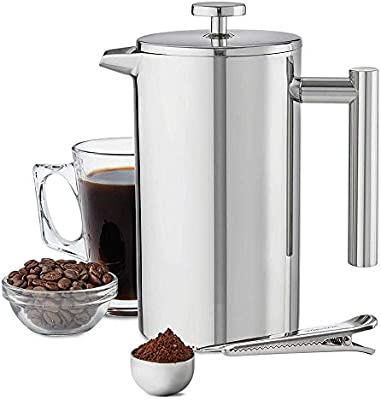 Cafetera Doble Aislamiento Acero Inoxidable 304 Doble Estructura Hueca Mango Anti escaldado 1000 ml (6 Tazas): Amazon.es: Hogar
