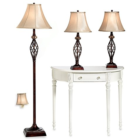 Bridge Street Unique, Elegant, Durable, UL Listed 3-Piece Marble Twist Lamp Set with CFL Bulbs