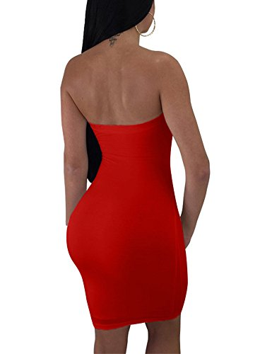 Dress up Strapless Mini Women's Tie Red MIZOCI Cut Out Sexy Club Front Outfits Bodycon qvf7UwUt0