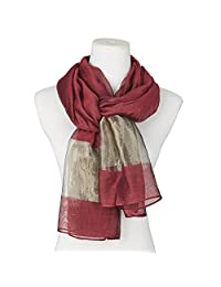 Beautiful Silk Blending Scarf Wedding Wraps Shawl Wine Women