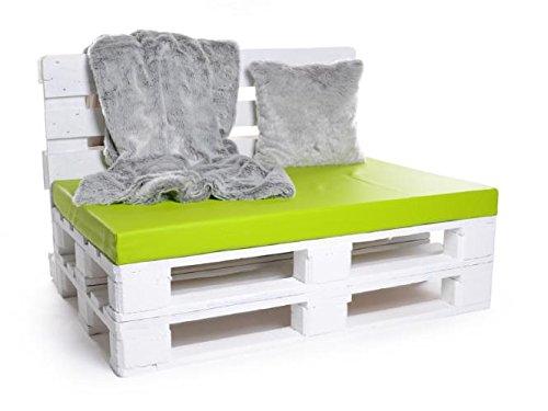 Palettenkissen, Gartenmöbel Auflagen, Sitzbankauflage, Matratzenauflagen auch m. Rückenlehne bzw. Dekokissen in Kunstleder kiwi, wasserabweisend und strapazierfähig