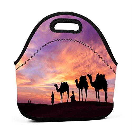 (Portable Lunch Bag Tote The Lure Of Arabia Neoprene Lunch Handbag Food Zipper Storage Lunch Box For Men Women Kids)