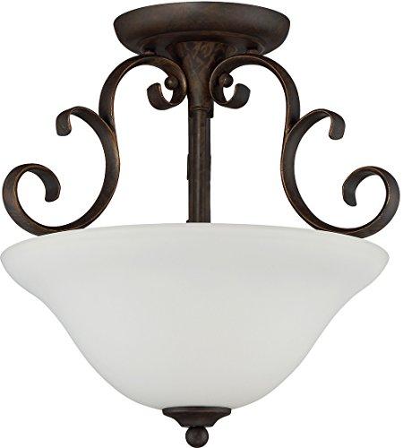 Craftmade 24263-MB-WG Barrett Place 3 Light Semi Flush Incandescent, Mocha Bronze