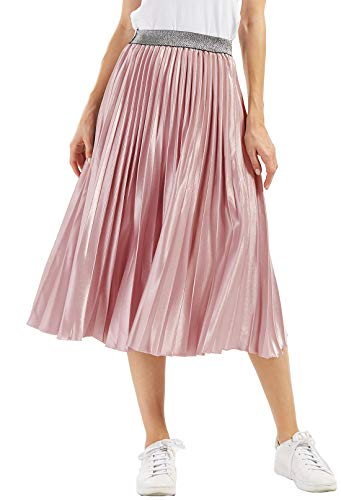 Chartou Womens Elastic-Waist Accordion Pleated Metallic Long Party Skirt (Pink, one Size)