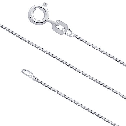 0.7mm Sterling Silver Box Chain .925 Italian Necklace (36 inches)