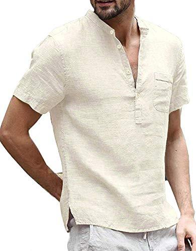 Short Linen Sleeve Shorts (Enjoybuy Mens Summer Linen Henley Shirts Short Sleeve Banded Collar Casual Beach Shirt Tops Khaki)
