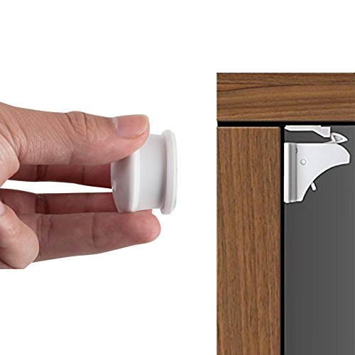 Price comparison product image Magnetic Baby Safety Cabinet Locks with 3M Adhesive No Drilling No Tools or Screws Required Baby Proof Child Toddler Proofing Kits to make Drawer Cabinets and closets lock - 4 locks & 1 key