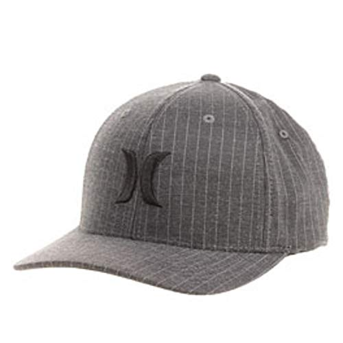 Hurley Men's Black Suits Flexfit Hat, Black Stripe, Small/Medium