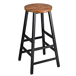 Mr IRONSTONE Pub Height Barstool Rustic Brown Bar Stool, 27.7″ Pub Dining Height Stools Bistro Table Chairs (Yellow Cheery)