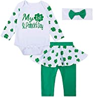 Paddy Field Baby Girls Romper Outfit 1st St Patrick's Day Long Sleeve Clothes Green Newborn Dress Body