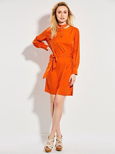 CLOCOLOR Vestido largo A-line cóctel para mujer vestido de mangas largas con cinturón vestido casual cuello redondo de negocios vestido casual de moda Naranja