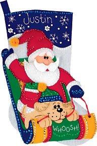 Sledding Santa Stocking - Dimensions Sledding Santa Stocking Felt Applique Kit