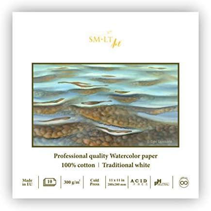 SMLT AS-10 Q//PRO Line Bloc /à aquarelle carr/ée professionnel 300 g//m/² 100/% coton Blanc traditionnel 10 feuilles 300
