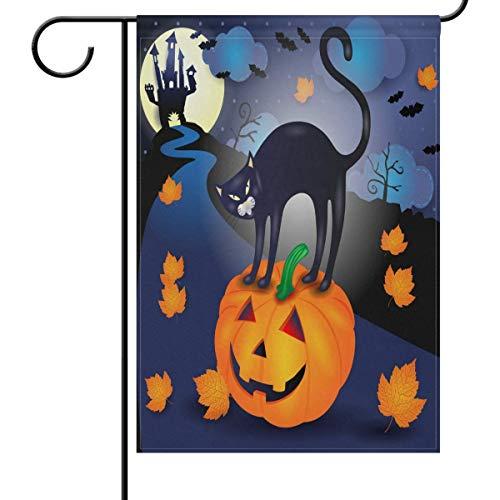 (HUVATT Home Decorative Garden Flag Halloween Black Cat Pumpkin Double Sided House Yard Flag, Castle Maple Leaves Seasonal Outdoor Flags Bannner 28 x 40)