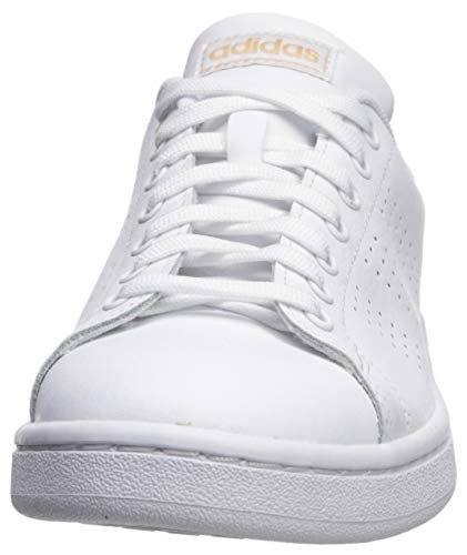 adidas Women's Cloudfoam Advantage Cl Tennis Shoe, White/White/Copper Metallic, 10.5