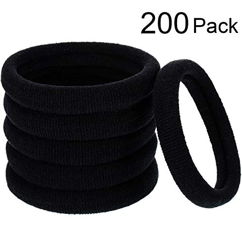 200 Pieces No-metal Elastics Hair Ties Ponytail Holders No Crease Hair Bands Bulk 5cm / 2inch in diameter, 8 mm in thickness(Size 2, Color Set 2)