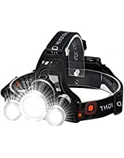Linterna Frontal Recargable con 3 x T6 LED, 4 Modos, Lámpara de Cabeza LED Impermeable de alta Potencia de 6000 Lúmenes, Linterna Manos Libres Para Correr, Acampar, Pescar, Andar en Bicicleta, Caminar (Incluye 2x 18650 Baterías)