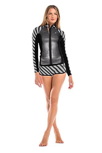 Glidesoul Women's Black Pearl Collection 1mm Jacket, Large, Stripes Print/Black/Sparkling Black by GlideSoul