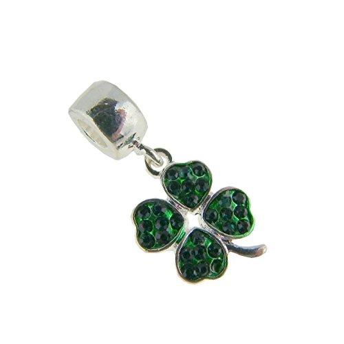 Green 4 Leaf Clover Pandora Style charm Fits European Charm Bracelets
