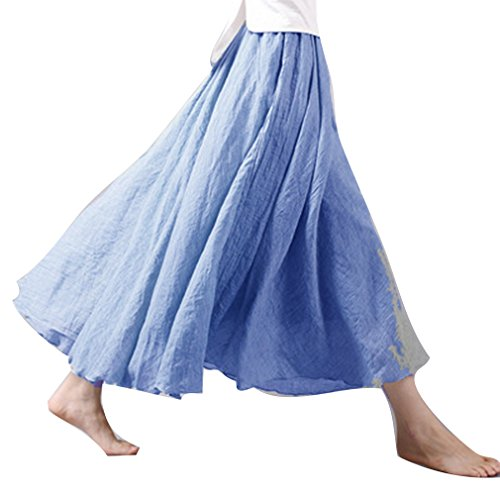 Confortable Longues Denim Couche 20 juqilu Dames Taille Lin Couleur Couleurs Double Haute Doux Jupe Jupe Coton Jupes 60wwqHB