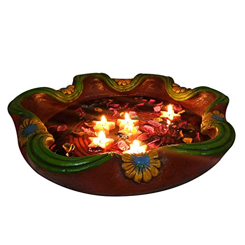 India Meets India Christmas Star Shape Floating Aroma Candles - Pack of 6, Big Terracota Hand Painted Decorative Bowl & Potpourri Dried - Floating Candles Tart