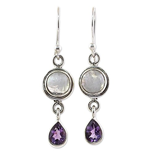 (NOVICA Multi-Gem Rainbow Moonstone .925 Sterling Silver Dangle Earrings, Purple Droplets')