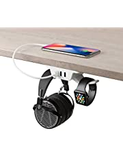 $24 » HumanCentric Headphone Stand with USB Charger (White) | Under Desk Headset Hanger and Mount with 3 USB-A Ports | Gaming, Computer, and PC Accessory
