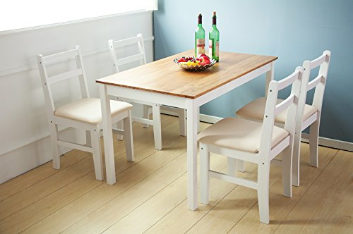 Merax 5-piece Dining Sets,4 Person Dinning Table and Cushion Seat Dinning Chairs - White