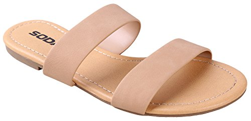 SODA Women's Browse Dual Straps Slip On Sandals Natural Nubuck Leatherette 7