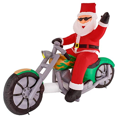 Christmas Masters 6 Foot Inflatable Santa Claus Riding a Motorcycle with Hand Up Waving Hello LED Lights Indoor Outdoor Yard Lawn Decoration - Cute Funny Chopper Xmas Holiday Party Blow - On Santa Motorcycle