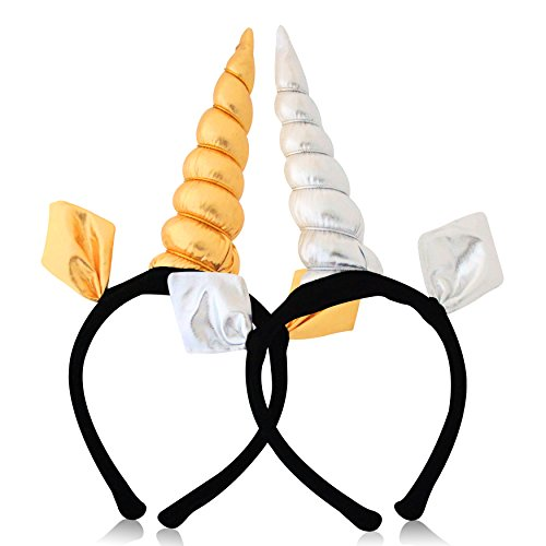 Trouble Maker Unicorn Headband Set Perfect For Every Party Costume Cosplay, Gold & Silver, One Size