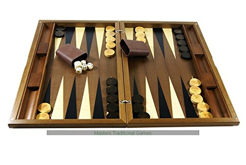 Dal Negro York Walnut Backgammon Set - Inlaid playing surface