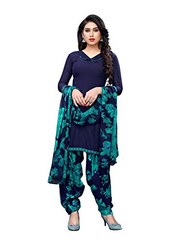 Satrani Women's Crepe A Dress Material (899DT197_Navy Blue_One Size)