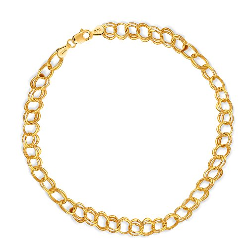 14k Solid Real Yellow Gold Link Charm Bracelet 7 1/4'' by Ritastephens