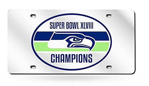 Seattle Seahawks 2014 Champions Premium Silver Laser Cut Acrylic Inlaid License Plate Mirrored Tag Football Super Bowl Championship (Championship Seahawks Football)