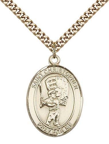 14kt Gold Filled St. Christopher/Baseball Pendant with 24