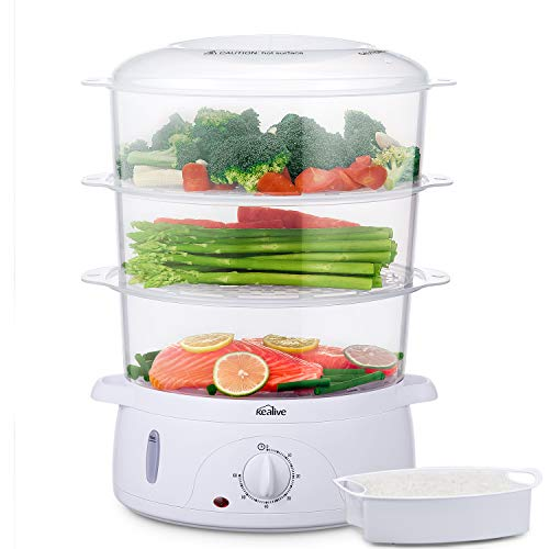 Food Steamer, 9.5 Quart Vegetable Steamer BPA-Free with Timer and 3 Tier Stackable Baskets, Electric Steamer Pot Cooker with Egg Holders and Rice Bowl , 800W Fast Heat Up, by Kealive