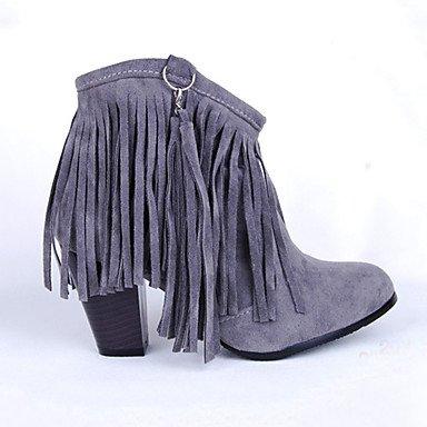 RTRY Zapatos De Mujer De Cuero De Nubuck Novedad Moda Otoño Invierno Confort Botas Botas Bota Chunky Talón Señaló Toe Botines/Botines Zipper US8 / EU39 / UK6 / CN39